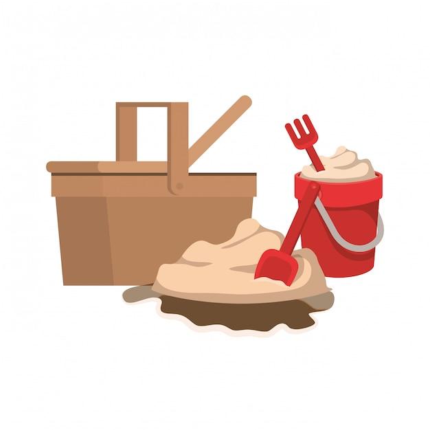 Secchio di sabbia con strumenti per giocare Vettore gratuito