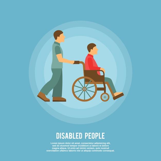 Sedia a rotelle per disabili con modello di testo Vettore gratuito