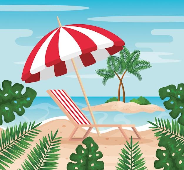 Sedia abbronzante con ombrellone e foglie di piante in spiaggia Vettore Premium