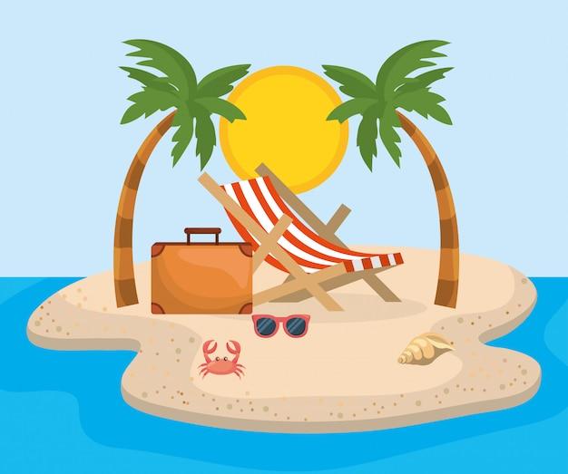 Sedia abbronzante con palme e valigetta con occhiali da sole Vettore Premium