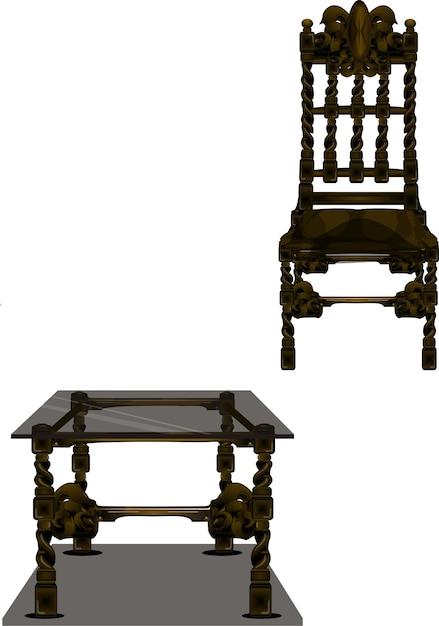 Tavoli E Sedie Stile Vintage.Sedia E Tavolo In Stile Vintage Scaricare Vettori Premium