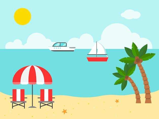 Sedie ed ombrello di spiaggia sull'illustrazione della spiaggia Vettore Premium