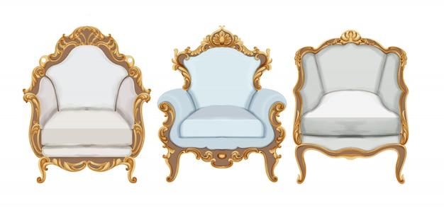 Sedie in stile barocco con eleganti decorazioni in oro Vettore gratuito
