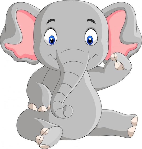 Seduta sveglia dell'elefante del bambino del fumetto Vettore Premium