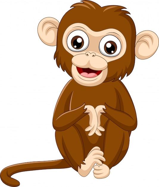 Seduta sveglia della scimmia del bambino Vettore Premium