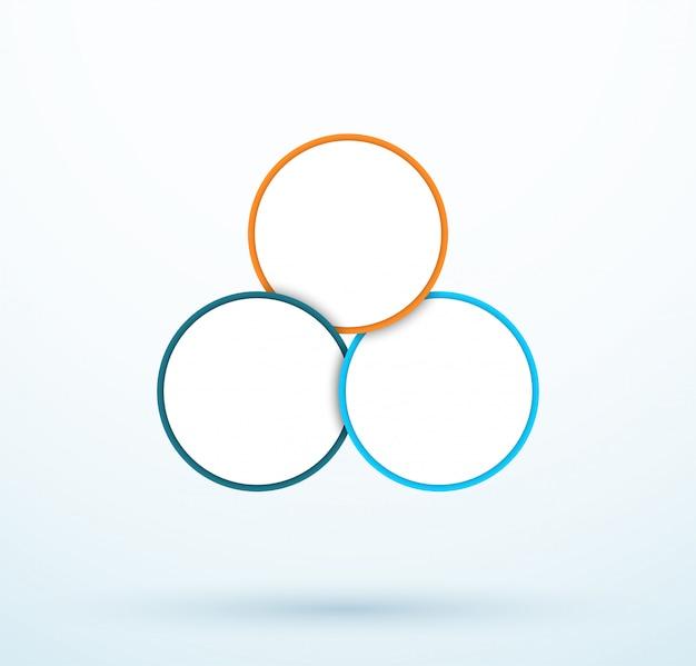Segmenti collegati del diagramma a tre cerchi di infographic Vettore Premium