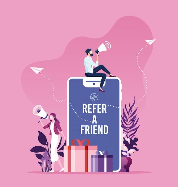 Segnala un concetto di amico Vettore Premium