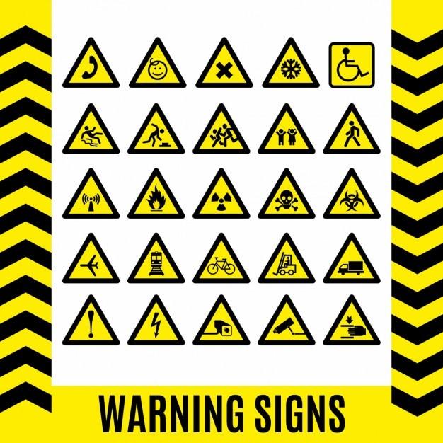 Segnale di avvertimento simbolo set elemento di design Vettore gratuito