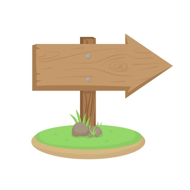 Segnale di direzione in legno con erba verde e rocce Vettore Premium