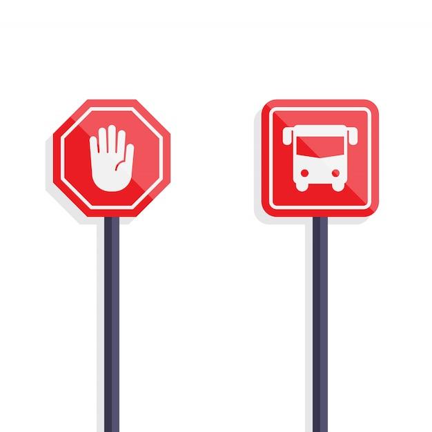 Segnale di stop e design piatto segno di autobus Vettore Premium