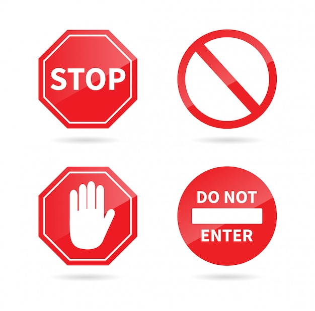 Segnale di stop impostato. segno proibito. Vettore Premium