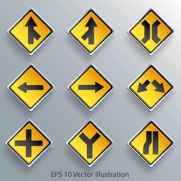 Segnale stradale di direzione Vettore Premium