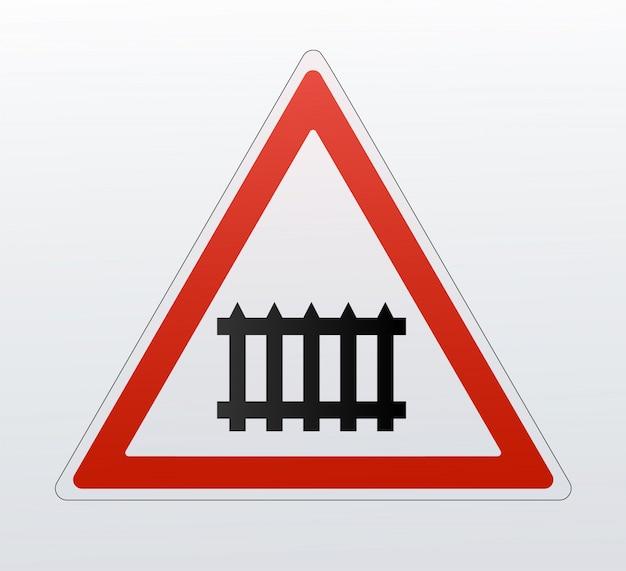 Segnali di avvertimento ferroviari dettagliati isolati su sfondo bianco. Vettore Premium