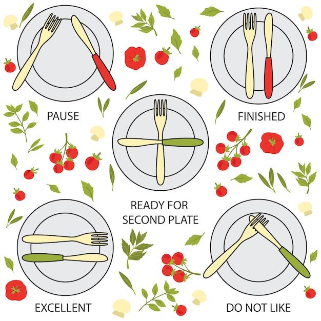 Segnali di galateo, forchette e coltelli Vettore Premium