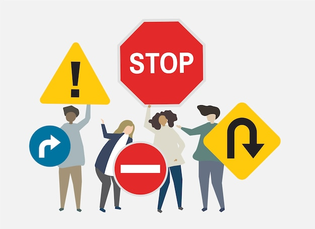 Segnali stradali per l'illustrazione di preoccupazioni di sicurezza Vettore gratuito