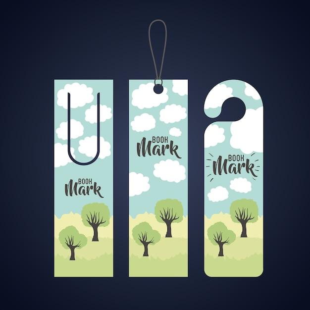 Segnalibro con nuvole e alberi icona. tema di lettura e letteratura della decorazione di guida. colorato de Vettore Premium