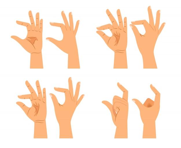 Segni di dimensioni della mano o gesti di spessore delle mani isolati Vettore Premium
