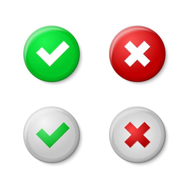Segni di spunta stile realistico dei pulsanti, con lucentezza e ombre. Vettore Premium