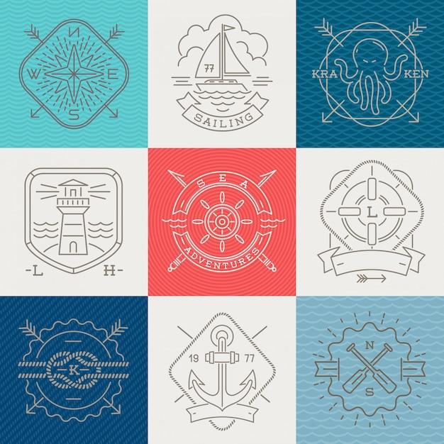 Segni ed etichette degli emblemi nautici, di avventure e di viaggio - illustrazione del disegno a tratteggio Vettore Premium