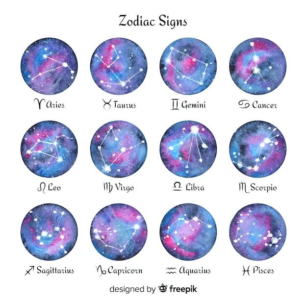 Segni zodiacali dell'acquerello Vettore gratuito