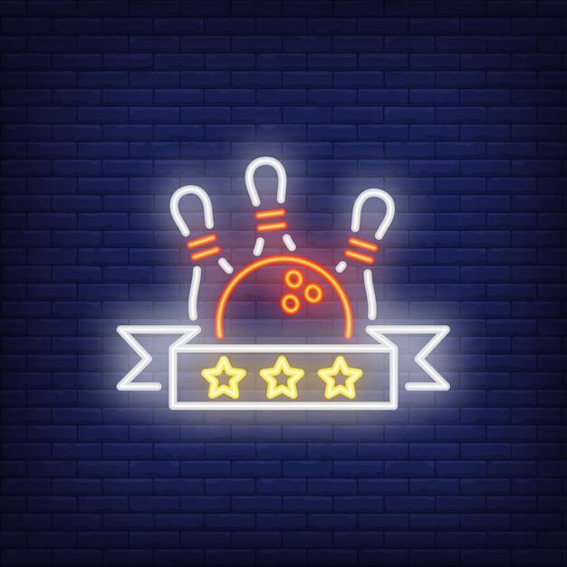 Segno al neon di valutazione di bowling Vettore gratuito
