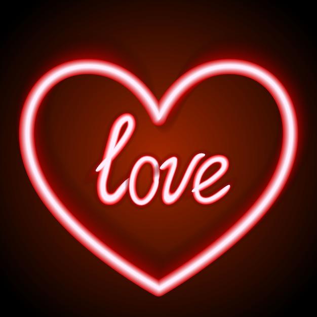 Segno al neon, la parola amore con cuore su sfondo scuro Vettore Premium