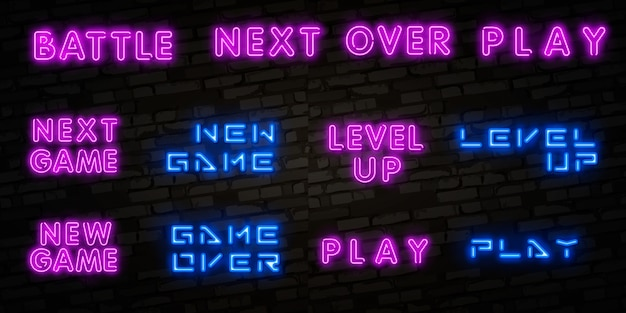 Segno al neon realistico realistico di new game, level up e game over Vettore Premium