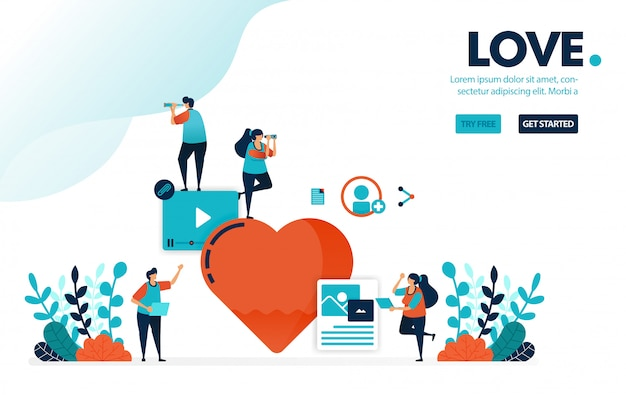 Segno d'amore, alla gente piacciono e amano i contenuti creativi sui social media, Vettore Premium