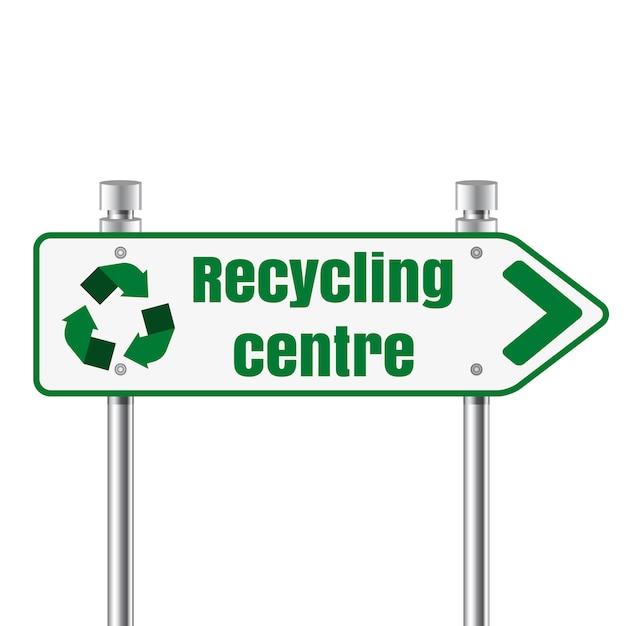 Segno del puntatore del centro strada di riciclaggio Vettore Premium