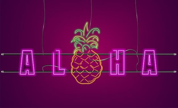 Segno di ananas di testo al neon Vettore Premium