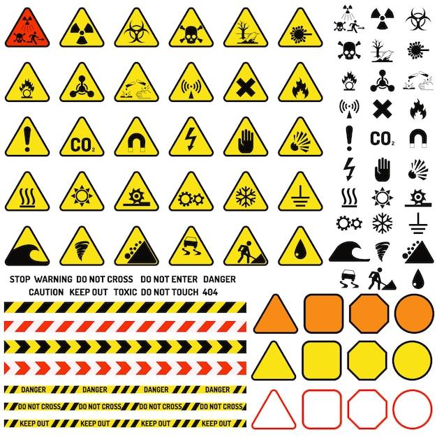 Segno di attenzione di avvertimento di rischio con il vettore di icone di informazioni e di notifica del simbolo del punto esclamativo. Vettore Premium