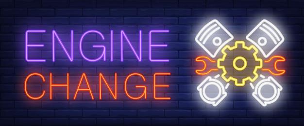 Segno di cambio motore in stile neon Vettore gratuito