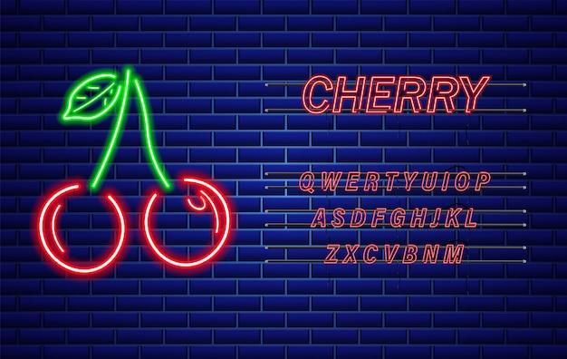 Segno di ciliegia al neon Vettore Premium