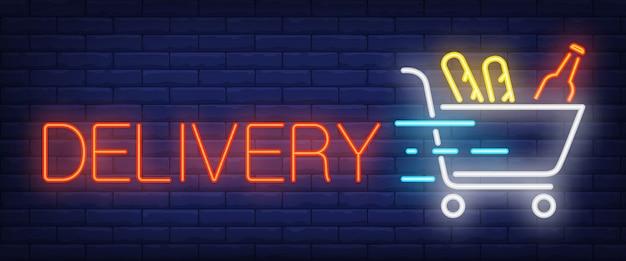 Segno di consegna in stile neon Vettore gratuito