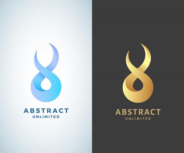 Segno di infinito astratto, emblema o modello di logo. dorato su uno sfondo scuro e versioni moderne sfumate isolate Vettore Premium