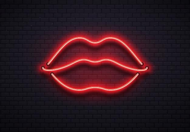 Segno di labbra al neon retrò. bacio romantico, baciare le coppie dei neon rossi della barra del labbro delle coppie e illustrazione di vettore del club di romance del biglietto di s. valentino Vettore Premium