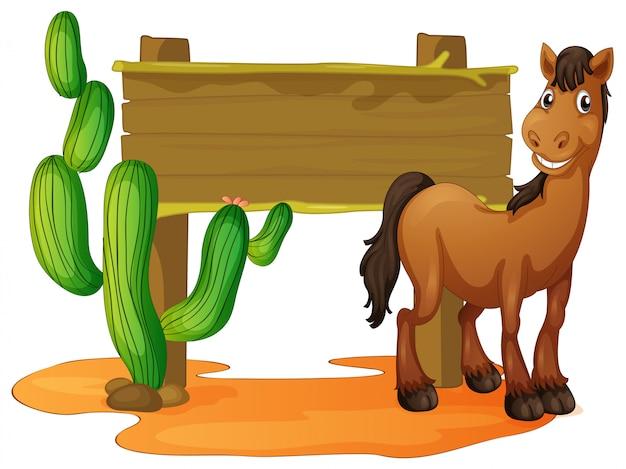 Segno di legno e cavallo selvaggio nel deserto Vettore gratuito