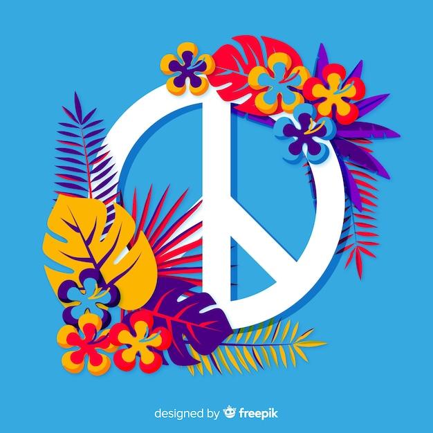 Segno di pace floreale Vettore gratuito