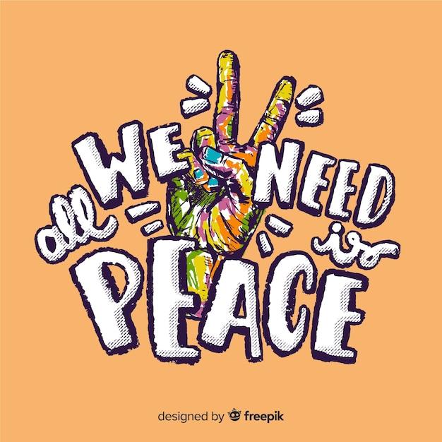 Segno di pace variopinto della mano con priorità bassa di parole Vettore gratuito