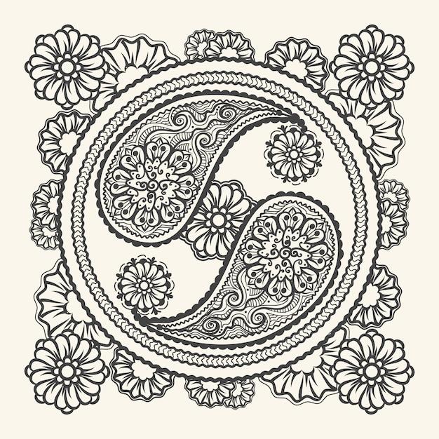 Segno di yin-yang disegnato a mano Vettore Premium