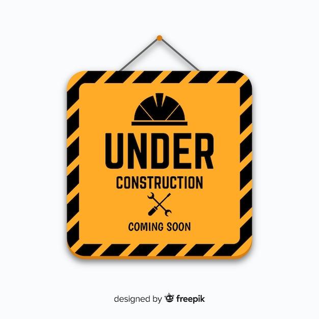 Segno piano in costruzione giallo Vettore gratuito