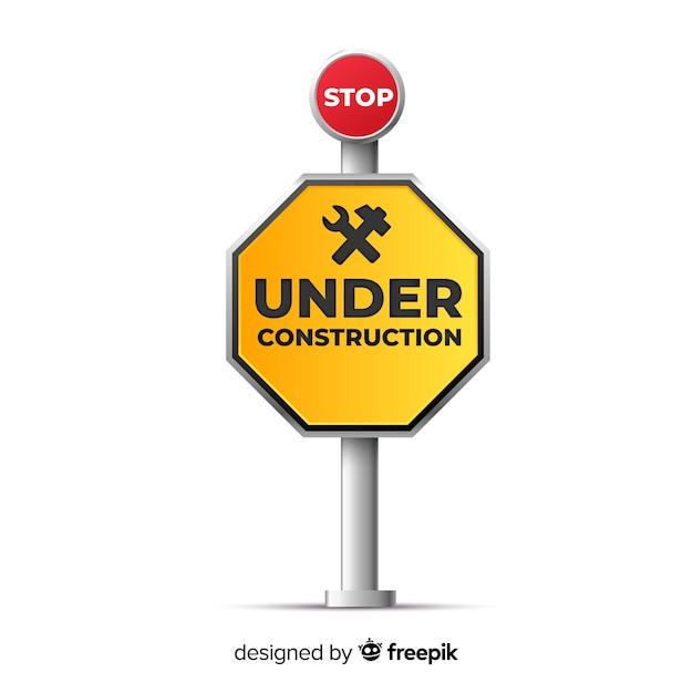 Segno realistico in costruzione giallo Vettore gratuito