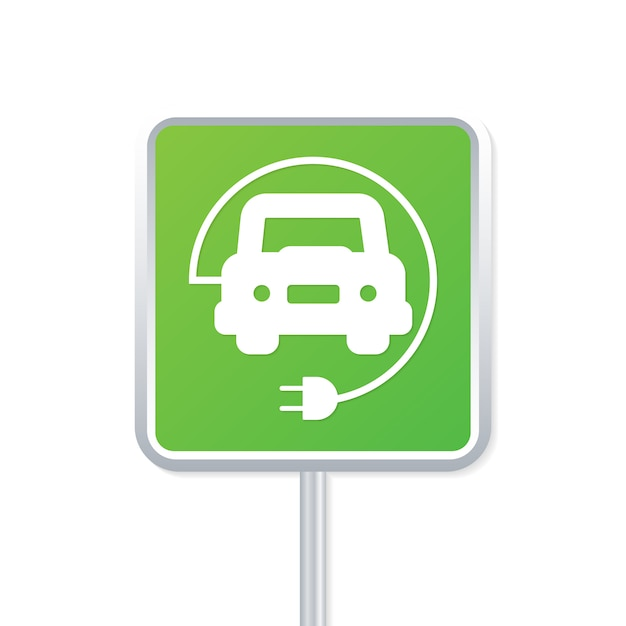 Segno verde del punto di carico dell'automobile elettrica. illustrazione vettoriale Vettore Premium