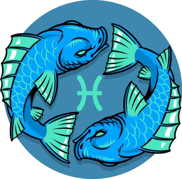 Segno zodiacale dei pesci Vettore Premium