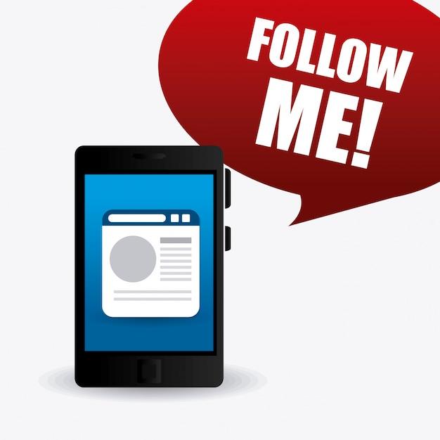 Seguimi design di temi sociali e aziendali Vettore gratuito