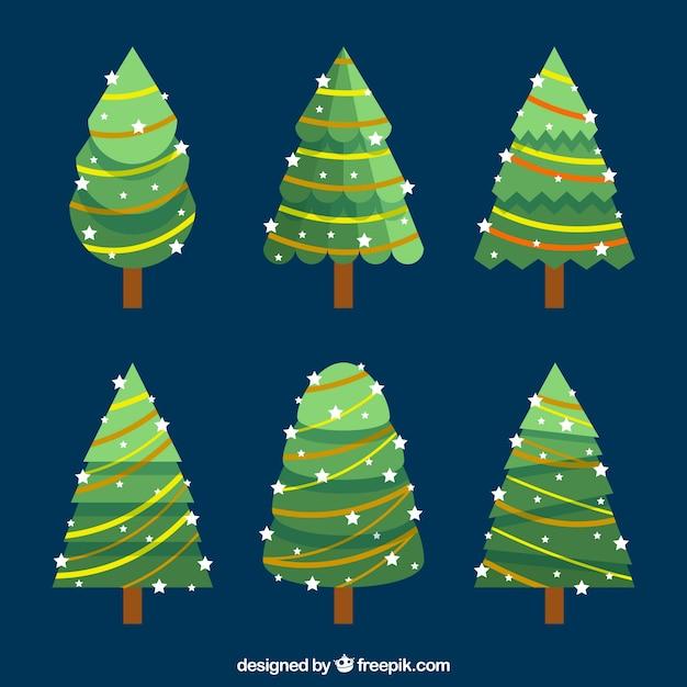 Alberi Di Natale Decorati Foto.Sei Alberi Di Natale Decorati Con Luci Di Natale Vettore