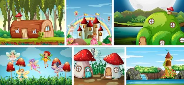 Sei diverse scene del mondo fantasy con fate in luoghi da fiaba e fantasy Vettore gratuito