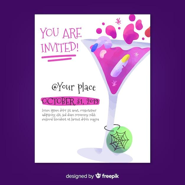 Sei invitato al cocktail party halloween poster Vettore gratuito