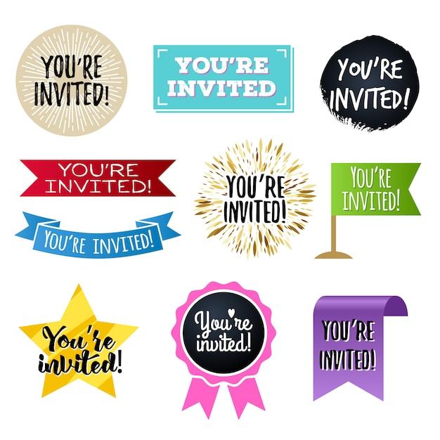 Sei invitato, set di distintivi. Vettore Premium