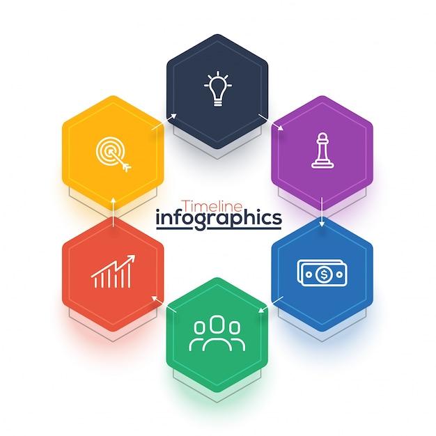 Sei passi, il layout di timeline infographics con le icone impostate, in versione in bianco e nero e colorato. Vettore Premium